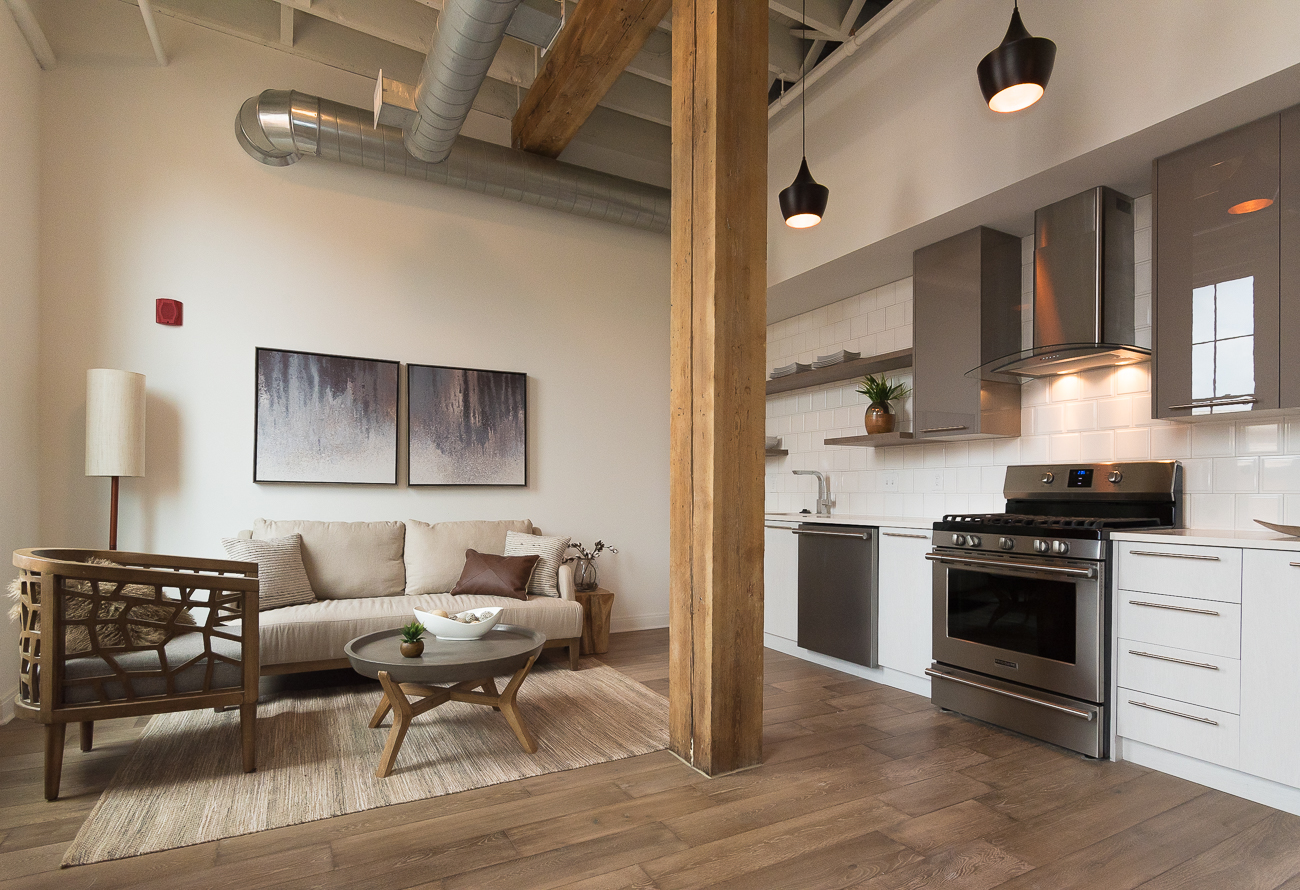 The Elmwood on the 4th floor is an 1026-square-foot unit with 1 bedroom and 1.5 bathrooms. It is the only unit in the entire building with two levels. It also features exposed raw elements of the building and extra storage. It's listing price at the time of publication is $368,970. Visit EightOneThreeCondos.com for more. / Image: Phil Armstrong, Cincinnati Refined // Published: 6.28.18