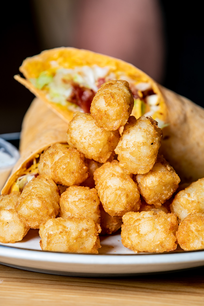BLT Wrap: Six slices of bacon, lettuce, tomato, and cheddar cheese with buttermilk ranch dressing in a wrap (tater tots available as a side) / Image: Amy Elisabeth Spasoff // Published: 6.24.18