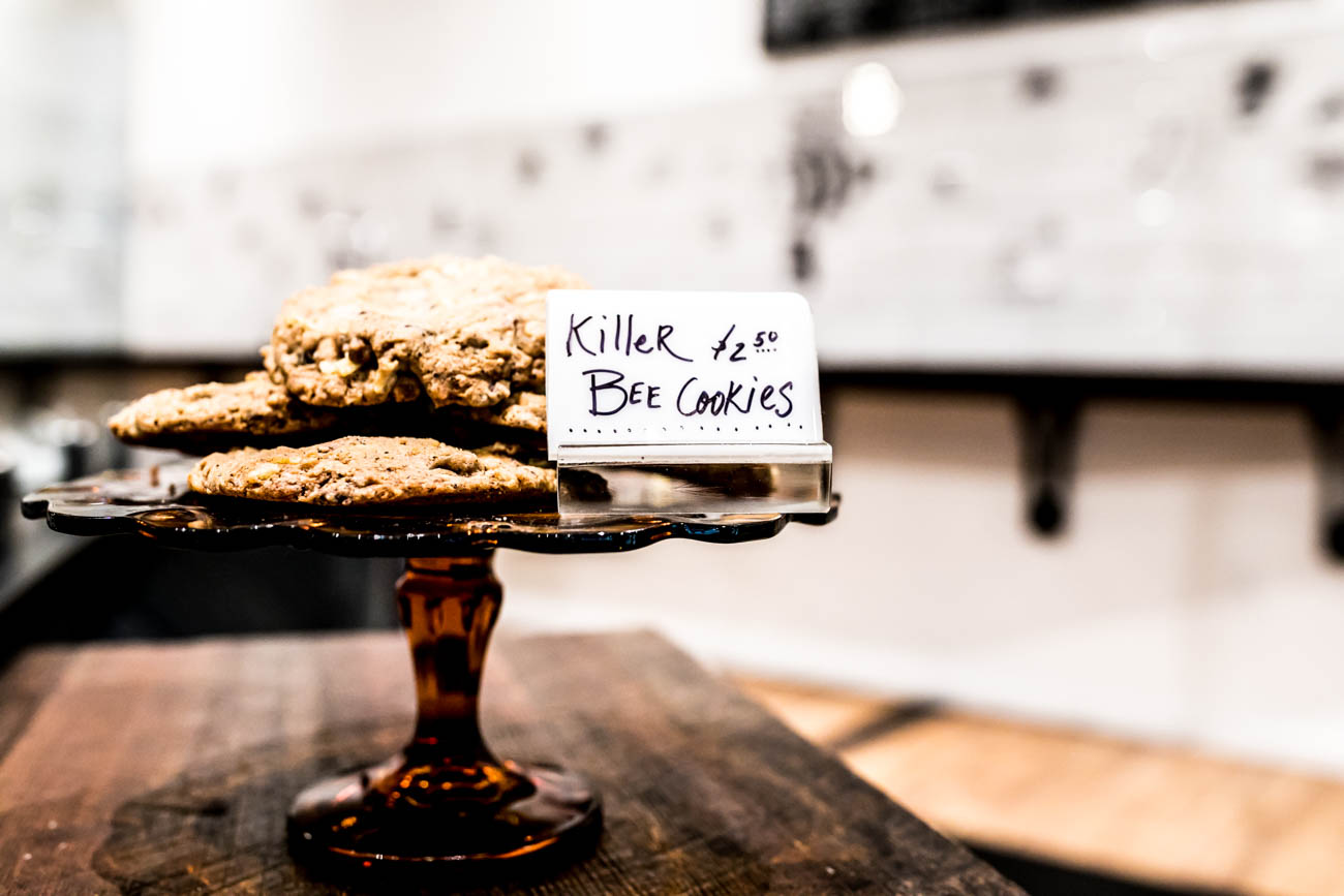 Make sure to purchase a few Killer Bee cookies for a late night snack. Killer Bee cookies are full of butterscotch chips, chocolate chips, potato chips, pretzels, decaf espresso grinds, and a 'lil bit of Sleepy Bee love / Image: Amy Elisabeth Spasoff // Published: 3.4.18<p></p>