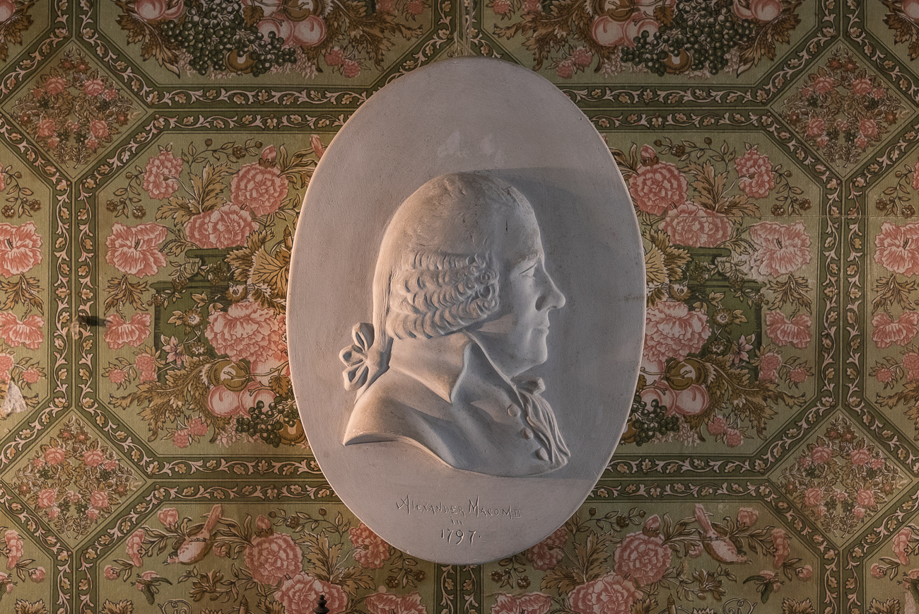 A piece of art depicting Martha Dinsmore's father, Alexander Macomb, hangs on the wall of the dining room. James Dinsmore was married to Martha. / Image: Phil Armstrong, Cincinnati Refined // Published: 6.15.18