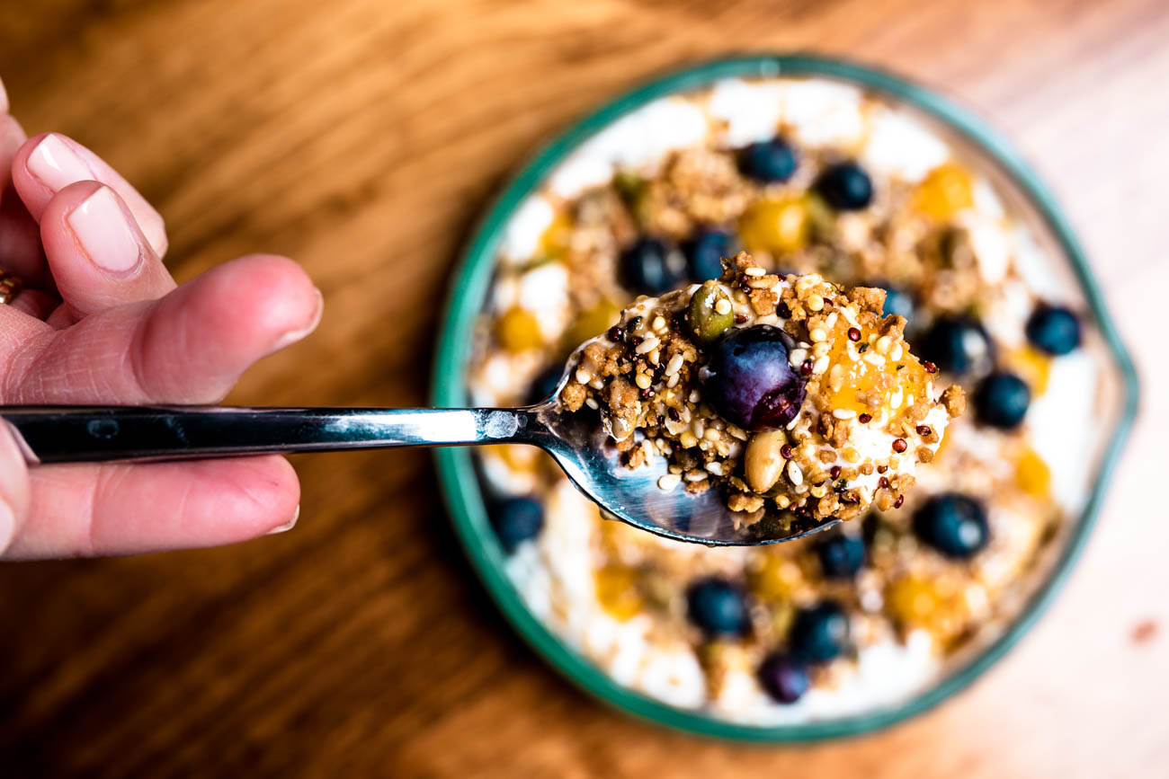 Greek Yogurt with tahini, apricot puree, hemp seed granola, and blueberries. / Image: Amy Elisabeth Spasoff // Published: 2.6.18<p></p>