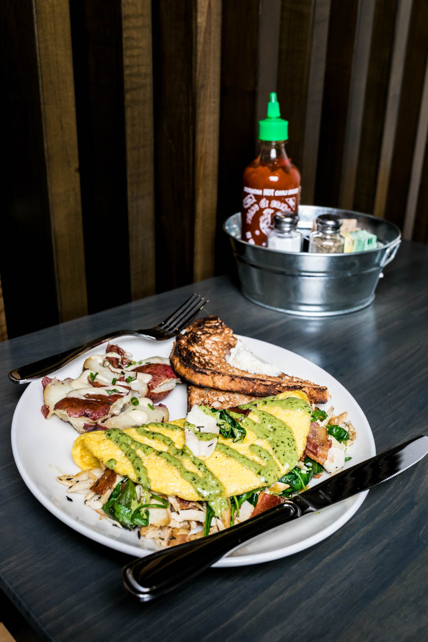 The Gobbler House Omelet: roasted turkey, bacon, kale, spinach, garlic herbs and gruyere cheese and served with multigrain toast and your choice of side (shown with roasted red skin potatoes) / Image: Amy Elisabeth Spasoff // Published: 3.4.18