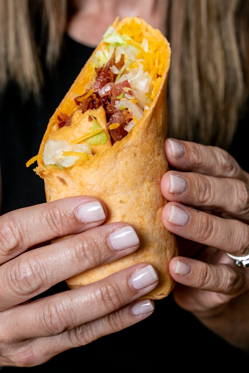 <p>BLT Wrap: Six slices of bacon, lettuce, tomato, and cheddar cheese with buttermilk ranch dressing in a wrap (tater tots available as a side) / Image: Amy Elisabeth Spasoff // Published: 6.24.18</p>