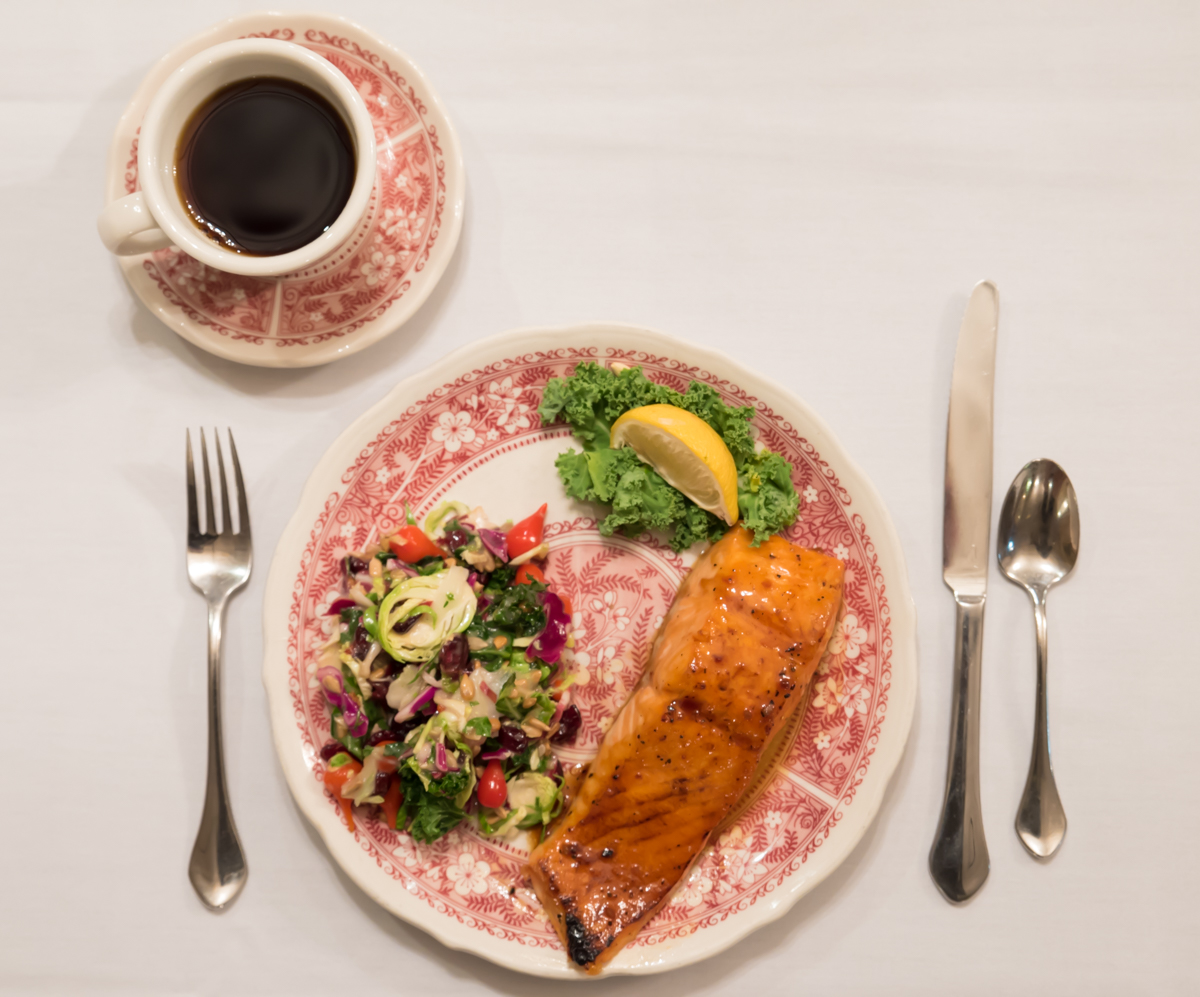 Broiled Atlantic salmon filet with bourbon glaze and kale salad / Image: Sherry Lachelle Photography // Published: 12.11.17<br><br><p></p>