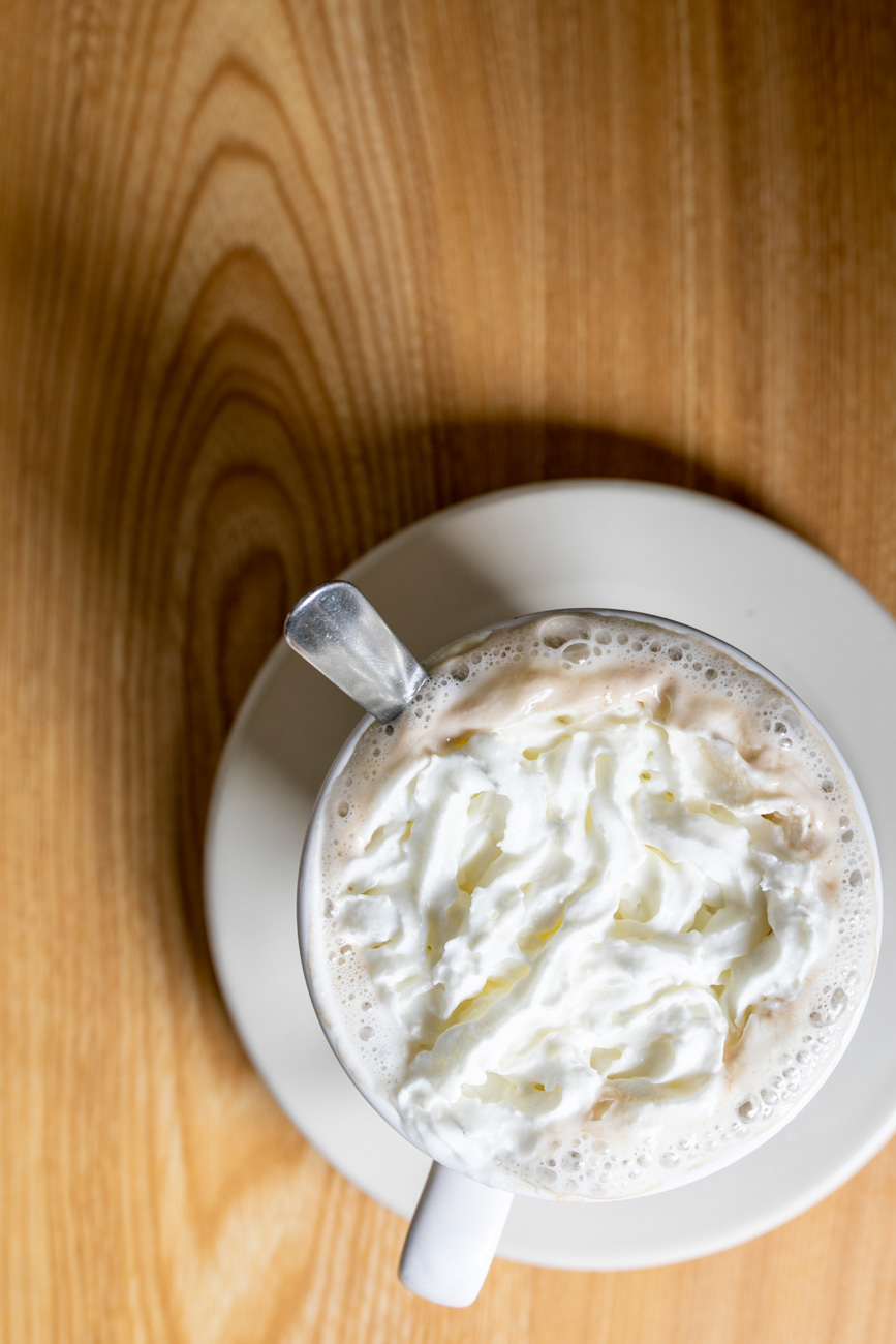 Cafe Mocha: House coffee with chocolate syrup, steamed milk, and topped with whipped cream / Image: Amy Elisabeth Spasoff // Published: 6.24.18