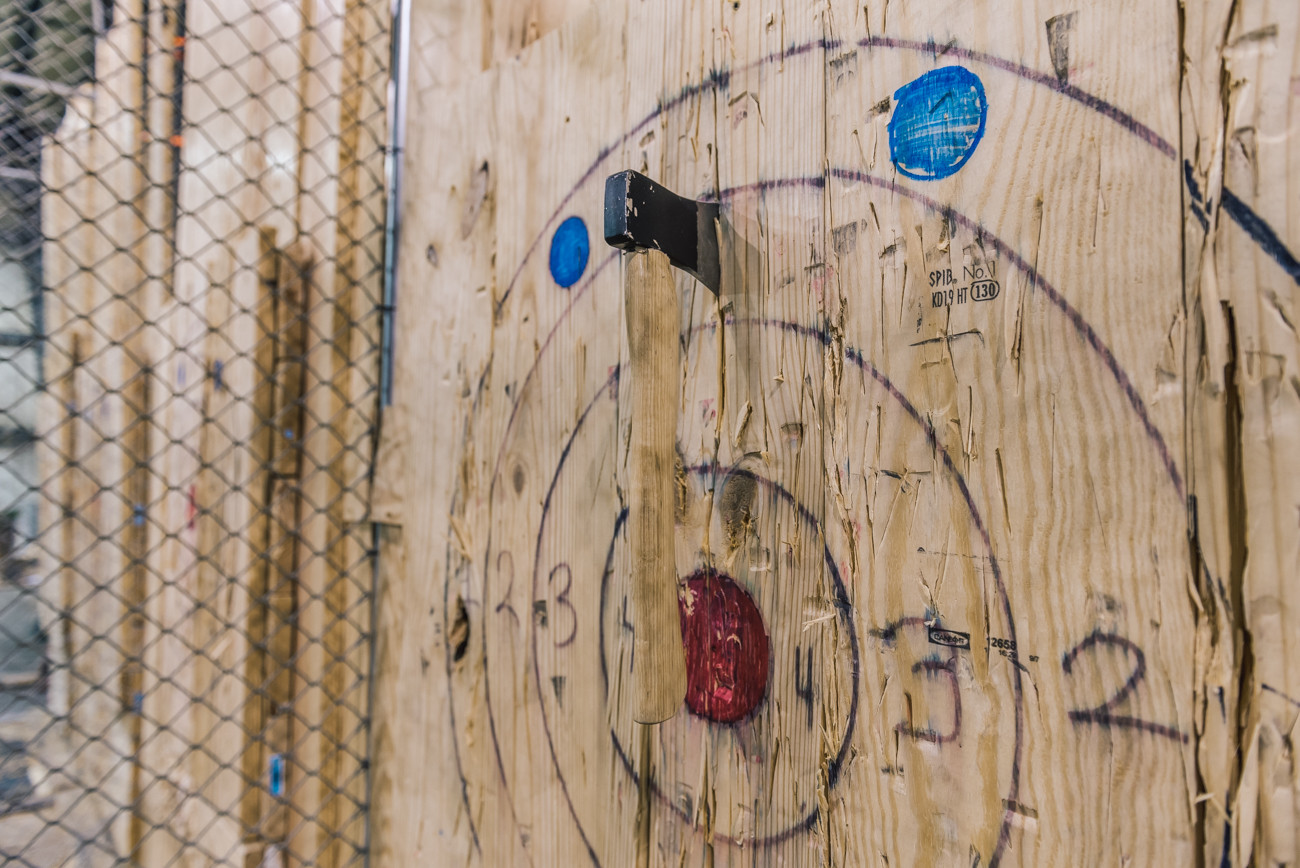 "Cincinnati Axe Throwing allows you to pick up a hand axe to test your ability at hitting targets in a safe environment. ""Axeperts"" standby to teach you how to properly throw while maintaining proper safety standards, making required prior axe throwing experience obsolete. Participants need to be 15 years old or older to throw. ADDRESS: 4814 Peter Place (45425) / Image: Mike Menke // Published: 2.23.18"